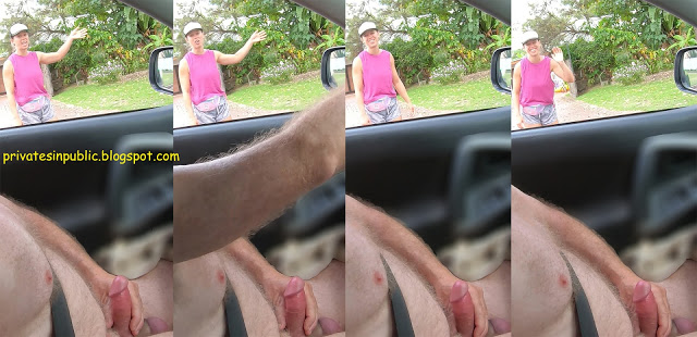 Public erection masturbation carflasher exhibitionist dickflash CFNM greeted with a smile