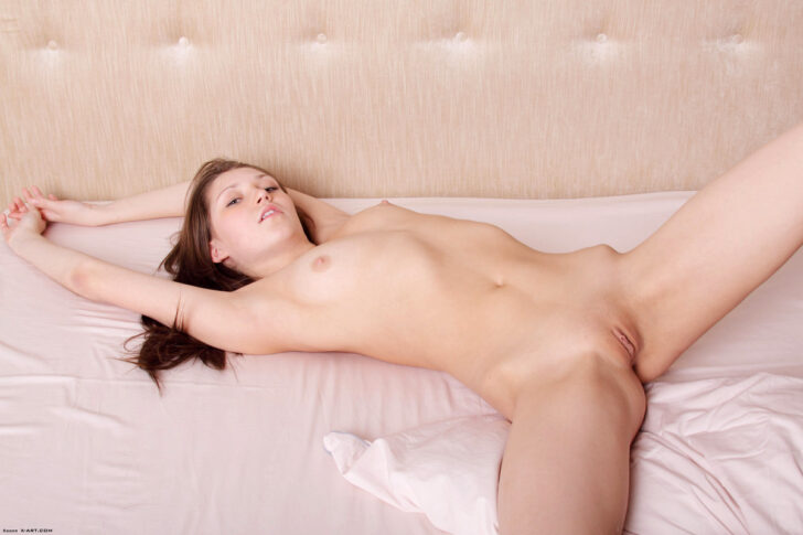 Young brunette beauty posing in bed