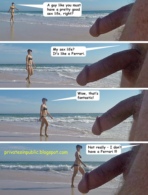 Public erection flasher exhibitionist dickflash CFNM on the beach funny comic. Supercharged sex  ...
