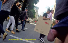 Public erection flasher exhibitionist on the street – daring dickflash on the pedestrian c ...