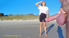 Public erection masturbation flasher exhibitionist CFNM dickflash on the beach for cute woman wi ...