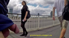 Public erection flasher exhibitionist dickflash on the street – young lady in a black dres ...