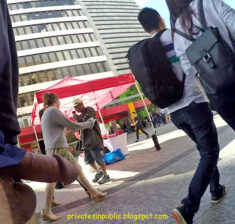 Public erection flasher exhibitionist dickflash – Strolling along a busy street with his p ...