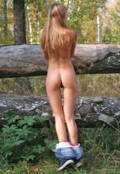 Perfect tight ass blonde beauty in the woods